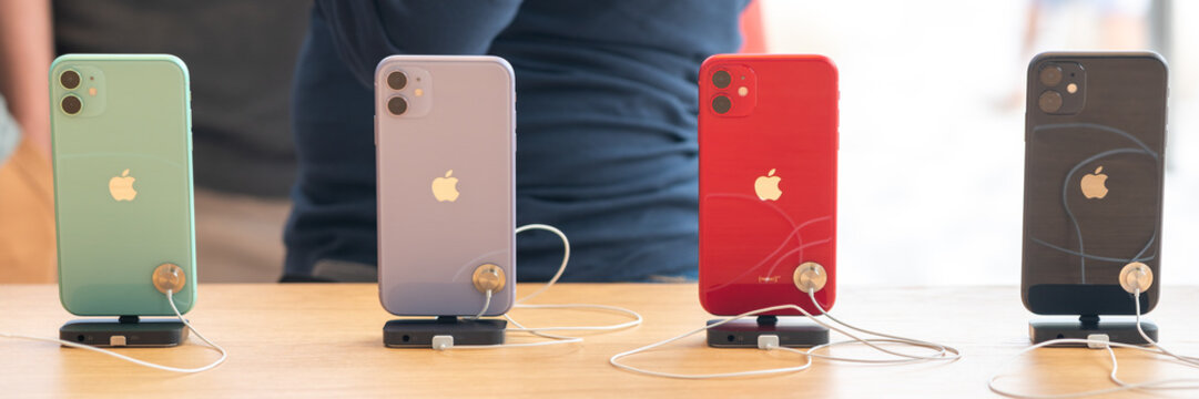 Aventura, Florida, USA - September 20, 2019: The iPhone 11, 11 Pro and Pro Max are displayed as the new smartphone by Apple goes on sale