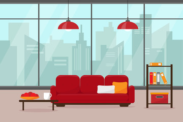 Modern living room with big window and furniture. House in big modern city. Interior vector illustration.