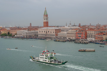 Aerial view of San Marco square and Canal Grande with vaporetto and ferry