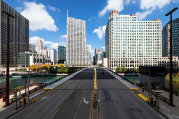 View of buildings and bridge in Chicago
