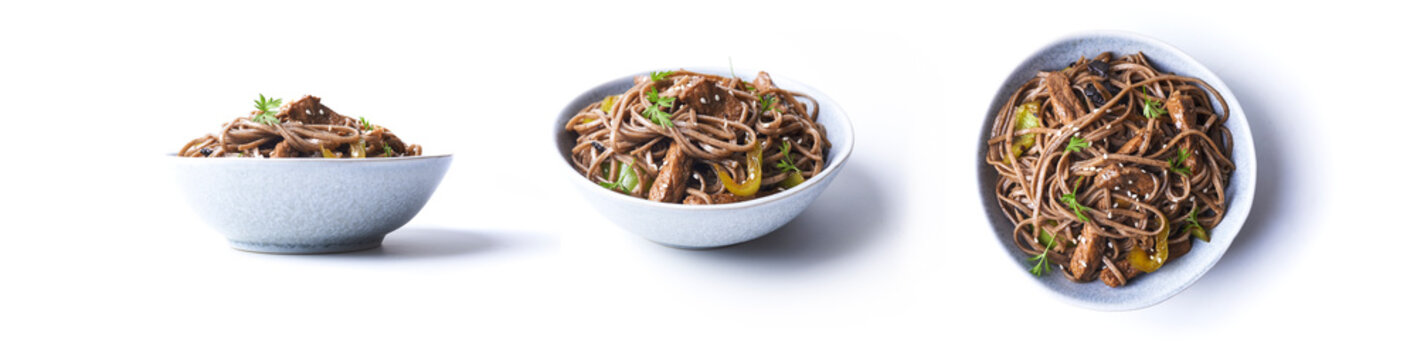 fried pork with soba in asian style