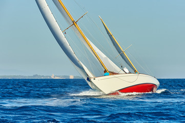 Sailing yachts race. Yachting. Sport