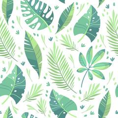 Vector illustration, flat design. Tropical leaf pattern