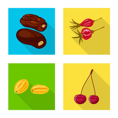 Fototapete - Vector design of fruit and dried icon. Collection of fruit and food stock symbol for web.