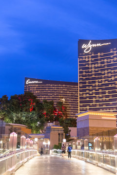 LAS VEGAS, USA - MAY 29, 2015: WYNN Casino and Hotel at dusk in Las Vegas, USA