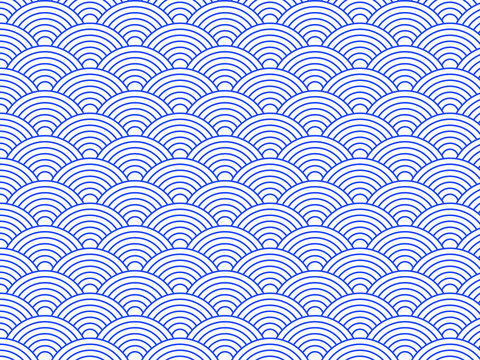 Traditional japanese wave pattern background with geometric concentric circles, perfect for ramen bowl decorations, wrapping paper, fabrics or backdrops.
