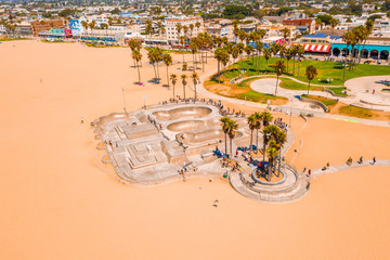 Aerial view of the skate park in Venice Beach, CA on a beautiful sunny day.
