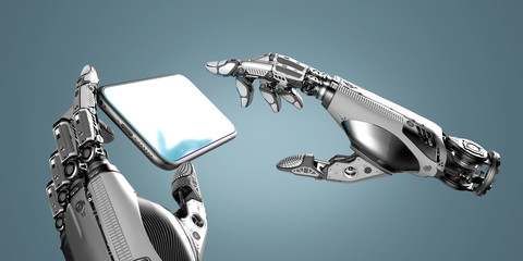 Digital Robot mechanical artificial arms working with smartphone touch screen, 3d rendered