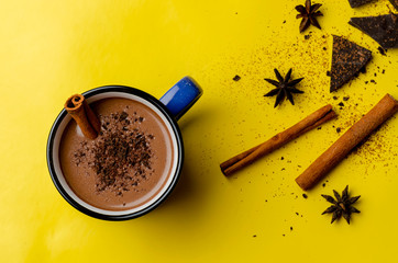 hot chocolate with spice on the mug on the colored