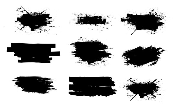 Ink splashes set.High level of tracing. Black inked splatter dirt stain splatter spray splash with drops blots isolated vector grunge silhouette set. Vector collection