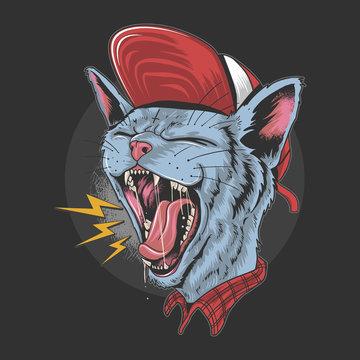 CAT KITTY SCREAM OVER ROCK N ROLL PUNKER ARTWORK VERCTOR