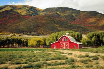 Old red barn in rural Utah, USA.