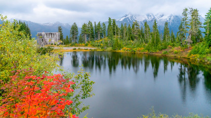 Washington USA. Mount Baker at fall. Scenic Picture lake with mount Shuksan reflection in autumn colors.