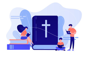 Tiny people christians reading the Holy Bible and learning about Christ. Holy Bible, sacred holy book, the word of God concept. Pinkish coral bluevector isolated illustration