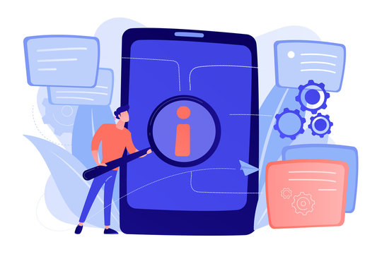 User looking for information in tablet with magnifier. Electronic goods technical assistance guide, manual for computer hardware and software concept, violet palette. Vector isolated illustration.