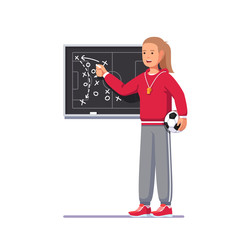 Soccer coach woman drawing game plan on the board