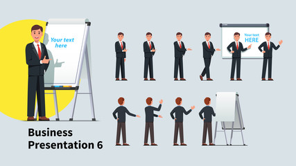 Business teacher man giving lecture poses set