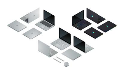 Laptop computers set, laptop convertible to tablet
