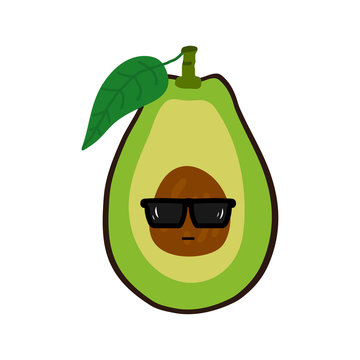 Funny avocado character with sunglasses, vector illustration.