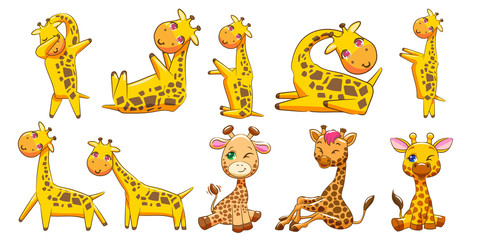 giraffe vector set clipart design
