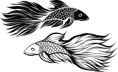 Hand drawn and Silhouette beautiful siamese fighting fish.Thai beautiful fish tatoo.infinity asian fish.
