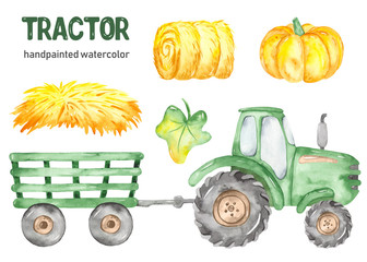 Green tractor, trailer, haystack, hay, pumpkin watercolor clipart