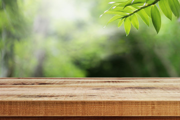 Foto op Aluminium Natuur Wooden desk and green leaf nature in garden background.