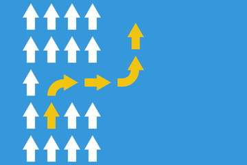 white arrows group in one direction and yellow arrow with different way, business innovations or new strategy vector concept Fotoväggar