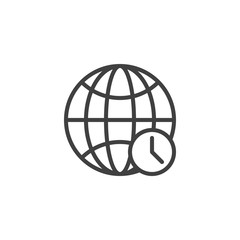 World Time line icon. linear style sign for mobile concept and web design. Clock and globe outline vector icon. Symbol, logo illustration. Vector graphics