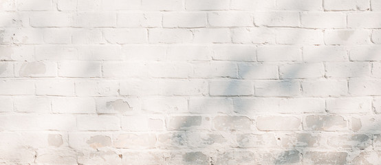 White painted brick wall texture background.