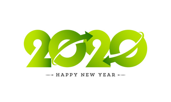 Green paper text 2020 with rotating arrow on white background for Happy New Year celebration greeting card design.