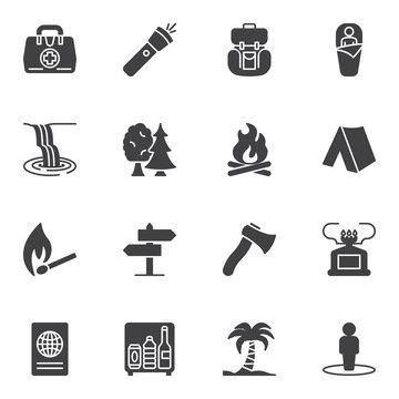 Hiking travel vector icons set, modern solid symbol collection, filled style pictogram pack. Signs, logo illustration. Set includes icons as flashlight, sleeping bag, camping tent, bonfire flame