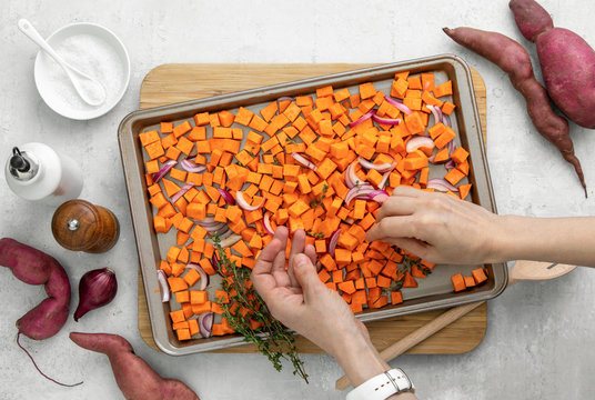 Sweet potato cooking concept, flat lay composition