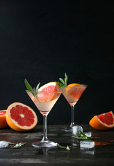 Sage and pink grapefruit gimlet, front view