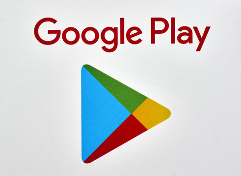 Google play logo printed on a white paper