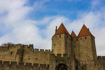 Castle of Carcassonne in France. Impressive medieval fortress