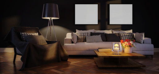 Cute living room interior with template frames by artificial light (panoramic) - 3d illustration