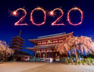 Foto auf Leinwand Kultstatte 2020 Happy New Year fireworks over Asakusa temple at night in Tokyo, Japan