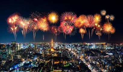 Photo sur Aluminium Tokyo Fireworks over Tokyo cityscape at night, Japan