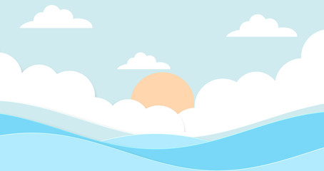 Abstract the sea at dawn clear blue sky with sun background. Soft gradient pastel cartoon graphics. Ideas for children designs or presentations. Flat design illustration of summer