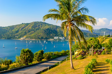 Phromthep cape viewpoint at sunset in Phuket, beautiful coast scenery on tropical island with paradise beaches, Thailand