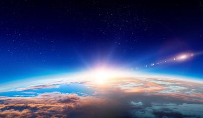 Foto op Plexiglas Ochtendgloren Earth with sunrise on blue space background