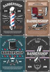 Barbershop pole, chair, razor, scissors and brush