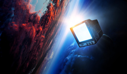 Retro TV flying in space