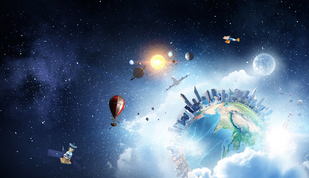 Earth planet with city skyline on sky and space background