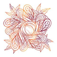 Colorful autumn ornament. Pumpkins, maple leaves and autumn floral square motif.