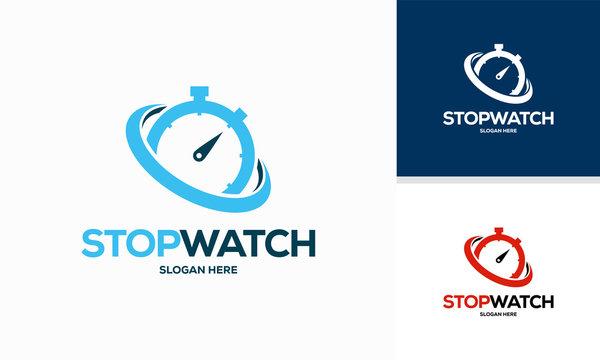 Simple Modern Stopwatch logo designs template vector