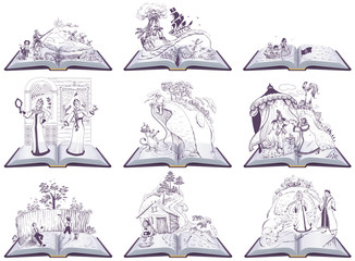Set open book fairy tale illustration. Set of books to read at school