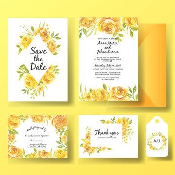 wedding invitation set of watercolor flower rose yellow