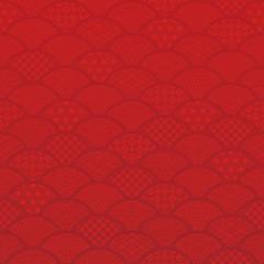 青海波 和風背景 伝統文様入り 赤